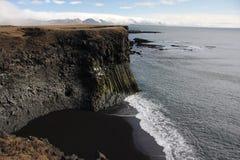 Basaltic bird cliffs. With black beach in Arnastapi. Iceland peninsula Snaefellsnes Royalty Free Stock Photos