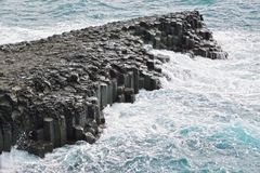 Basaltic columnar joint coast in JungMun Royalty Free Stock Photos