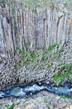 Basaltic Prisms Canyon of Santa Maria Regla, Huasca de Ocampo, Mexico. May 16th. Rock formations carved by water with a perfect geometric structure having a stock photography