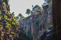 Basaltic Prisms Canyon of Santa Maria Regla, Huasca de Ocampo, Mexico. May 16th. Rock formations carved by water with a perfect geometric structure having a stock photo