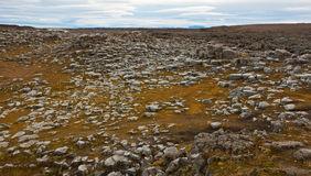 Basaltic rocks fields. Basaltic rocks near Dettifoss Warerfall, Jokulsargljufur National Park, Iceland Stock Photo