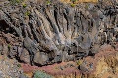 Basaltic skały przy losem angeles Gomera, wyspy kanaryjskie obrazy stock