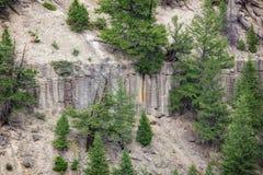 Basaltklippor ovanför Yellowstone River Arkivfoto