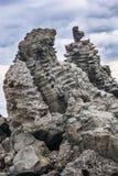 Basalto acolumnado en Acitrezza Sicilia Foto de archivo libre de regalías