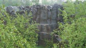 Basaltpijlers in de regen stock video