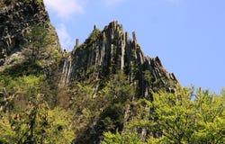 Basaltspalten, die vom Wald auftauchen Lizenzfreie Stockfotos
