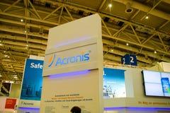 Basamento del Acronis nell'Expo del calcolatore di CEBIT Immagine Stock Libera da Diritti