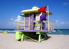 Basamento del bagnino in spiaggia del sud Miami Immagine Stock
