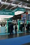 Basamento del laboratorio di Kaspersky nell'Expo del calcolatore di CEBIT Fotografia Stock