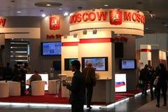 Basamento della città di Mosca nell'Expo del calcolatore di CEBIT Fotografia Stock Libera da Diritti