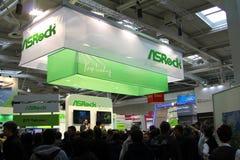 Basamento di Asrock all'Expo del calcolatore di CEBIT Immagine Stock Libera da Diritti