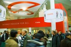 Basamento di Avira sull'Expo del calcolatore di CEBIT Fotografia Stock