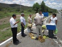 Basamento di frutta del bordo della strada nel Messico Fotografie Stock