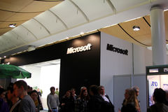 Basamento di Microsoft all'Expo del calcolatore di CEBIT Fotografia Stock Libera da Diritti