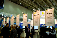 Basamento di Microsoft nell'Expo del calcolatore di CEBIT Fotografia Stock Libera da Diritti