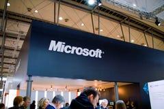Basamento di Microsoft nell'Expo del calcolatore di CEBIT Fotografie Stock