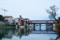 Basano del Grappa和著名桥梁,意大利 库存图片