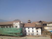 Basantapur. Temple n darbar reparing started Royalty Free Stock Photos