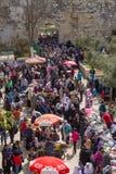 Basar i den gamla staden av Jerusalem. Arkivbilder