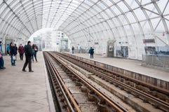 Basarab-Brücken-Straßenbahnstation Lizenzfreies Stockbild