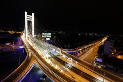 Basarab bridge in the night with cars on the bridge Stock Photo