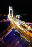 Basarab bridge in the night with cars on the bridge Stock Photography