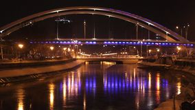 Basarab bridge at night stock footage