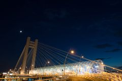 Basarab bridge at twilight in Bucharest city Stock Photography