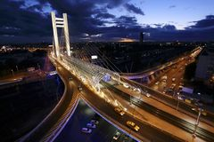 Basarab Overpass. The Basarab Overpass (Romanian: Pasajul Basarab) is a road overpass in Bucharest, Romania, connecting Nicolae Titulescu blvd. and Grozǎveşti Royalty Free Stock Photography
