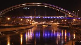 Basarabbrug bij nacht stock footage