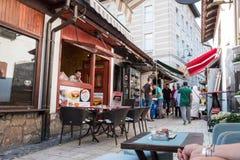 "Bascarsija †""老义卖市场在萨拉热窝 2017年7月12日的波黑 免版税库存照片"