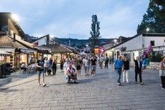"""Bascarsija-†""""der alte Basar in Sarajevo Schattierte Entlastungskarte mit HauptStadtgebieten Lizenzfreie Stockfotos"""