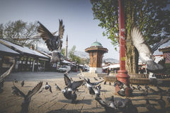 Bascarsija square with Sebilj wooden fountain in Old Town Saraje Stock Images