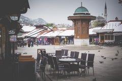 Bascarsija square with Sebilj wooden fountain in Old Town Saraje Stock Photos