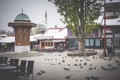 Bascarsija square with Sebilj wooden fountain in Old Town Saraje Royalty Free Stock Image