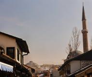 Bascarsijska Dzamija尖塔的看法,萨拉热窝 图库摄影