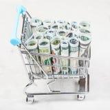 Bascart mit Dollarbanknoten auf konkretem Brett Lizenzfreie Stockfotos