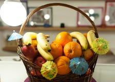 Bascket with fruits Stock Photos