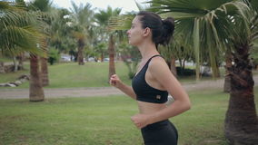 Basculador de la aptitud que corre en el entrenamiento que activa de la aptitud tropical del parque metrajes
