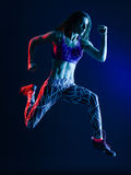 Basculador running do corredor da mulher que movimenta-se fotografia de stock royalty free