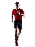 Basculadores de los corredores que corren siluetas de salto que activan Imágenes de archivo libres de regalías