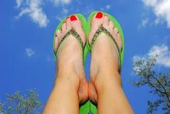 Bascule électronique et pieds en air Images libres de droits