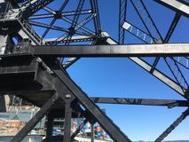 Overhead latticework of the Lefty O`Dould Bridge. A bascule bridge is a French term for a specific type of draw bridge. Although in uses since ancient times, it Royalty Free Stock Image