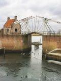Bascule bridge and pierl in Heusden. Royalty Free Stock Image