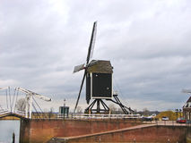 Bascule bridge and windmill in Heusden. Stock Images