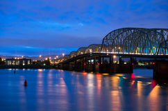 Bascule highway bridge on I-5 Interstate Columbia Portland Night Stock Photo