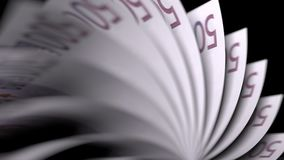 Basculement de cinq cents euro notes, plan rapproché rendu 3d Image libre de droits
