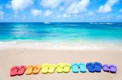 Bascules électroniques de couleur par l'océan Photos stock