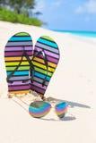 Bascules multicolores et lunettes de soleil sur une plage ensoleillée Tropica Photographie stock