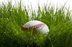 Base-ball dans l'herbe photographie stock